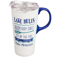 Evergreen Lake Rules Ceramic Travel Cup w/ Lid