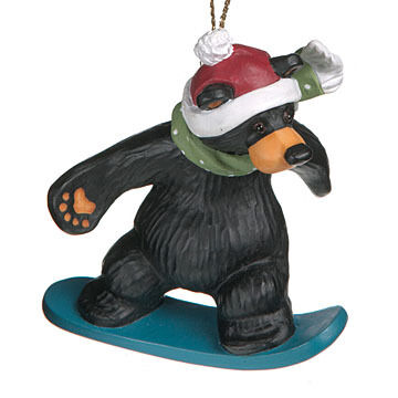 Big Sky Carvers Snowboarder Bear Ornament
