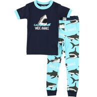 Lazy One Toddler Boy's Wide Awake Shark PJ Set