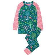 Hatley Girl's Forest Friends Organic Cotton Raglan Long-Sleeve Pajama Set