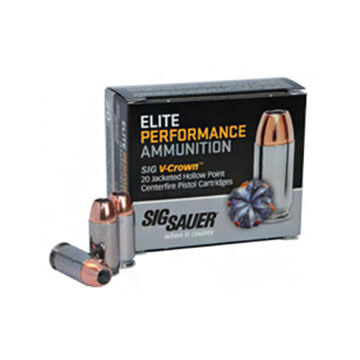 SIG Sauer Elite Performance V-Crown 10mm 180 Grain JHP Pistol Ammo (20)