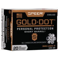 Speer Gold Dot Short Barrel Personal Protection 9mm Luger +P 124 Grain HP Handgun Ammo (20)