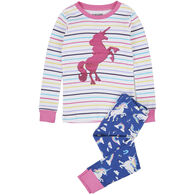 Hatley Girl's Little Blue House Rainbow Unicorns Applique Pajama Set