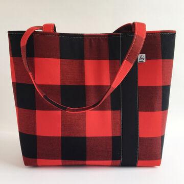 Little Man Womens Buffalo Check Fabric Workforce Vegan Tote Bag