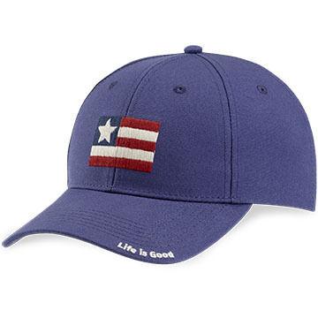 Life is Good Mens Flag High Rise Chill Cap - Darkest Blue