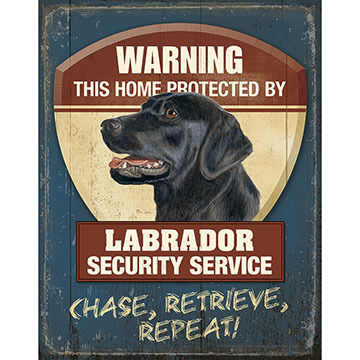 Wild Wings Warning Laborador Security Service Tin Sign