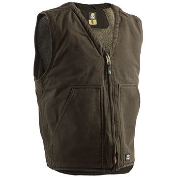 Berne Mens Original Washed Sherpa Lined V-Neck Vest