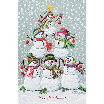 Pumpernickel Press Tree Of Snowmen Deluxe Boxed Greeting Cards