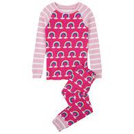 Hatley Girls' Pretty Rainbows Organic Cotton Pajama Set