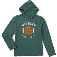 Life is Good Boy's Deep Football Hooded Crusher Long-Sleeve Shirt