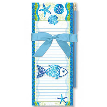 Cape Shore Beach Batik Fish Magnetic Pad Gift Set