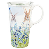 Evergreen Bunnies in the Meadow Ceramic Travel Cup w/ Lid
