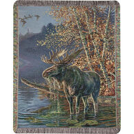 Manual Woodworkers & Weavers Moose In Water Tapestry Throw