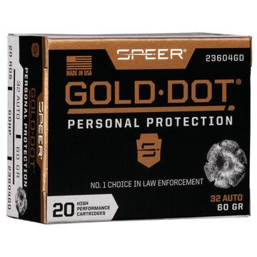 Speer Gold Dot Personal Protection 32 Auto 60 Grain HP Handgun Ammo (20)