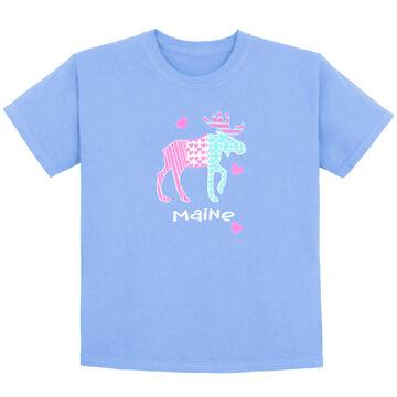 Lakeshirts Girls Blue 84 Bubble Pop Moose Short-Sleeve T-Shirt