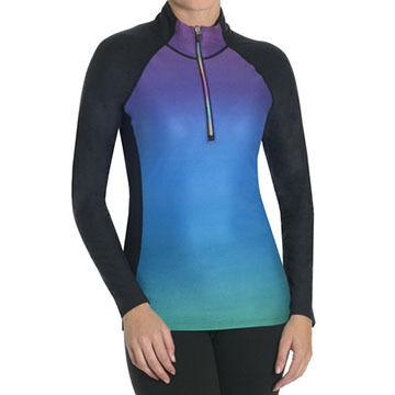 Snow Angel Women's Doeskin Rainbow Zip-T Baselayer Shirt