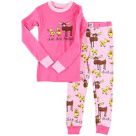 Lazy One Girl's Duck Duck Moose Pink PJ Set