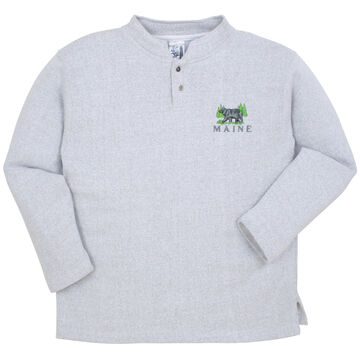 ESY Mens Two Button Black Bear Henley Sweatshirt