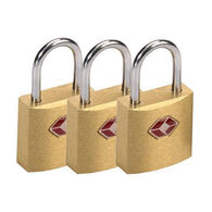 Lewis N. Clark Travel Sentry Brass Square Mini Paddlock - 3 Pk.