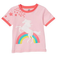 Doodle Pants Toddler Girls' Rainbow Unicorn Short-Sleeve T-Shirt