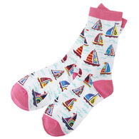 Hatley Little Blue House Women's Pretty Sailboats Crew Sock