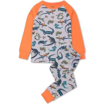 Hatley Toddler Boys Rambunctious Reptiles Organic Cotton Raglan PJ Set