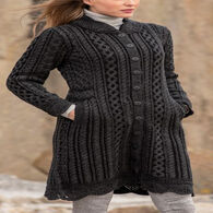 Aran Crafts Women's Leitrim Long Button Sweater Coat