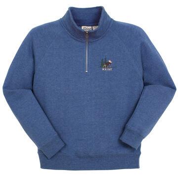 Lakeshirts Womens Blue 84 Maine Moose 1/4-Zip Sweatshirt