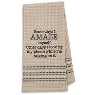 Mona B Amaze Embroidered Waffle Weave Dishtowel