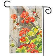 BreezeArt Hummingbird Geraniums Garden Flag