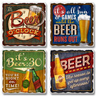 Ridge Top Kountry Krystal Beer O'Clock Coasters, 4-Pack