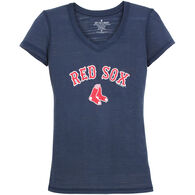 Soft As A Grape Women's Red Sox Vee Short-Sleeve T-Shirt