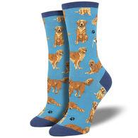 Socksmith Design Women's Golden Retrievers Crew Sock