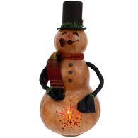 Meadowbrooke Gourds Rockwell Large Lit Boy Snowman Gourd