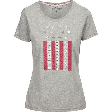 North River Womens Americana Vertical Flag Print Slub Jersey Crew-Neck Short-Sleeve T-Shirt