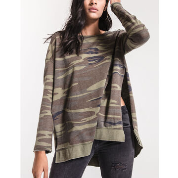 Z Supply Womens Camo Weekender Long-Sleeve Top