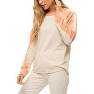 Mystree Women's Slouchy Dolman Sleeve Cross Tape Long-Sleeve Top