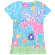 Lakeshirts Girl's Blue 84 Dearest Moose Short-Sleeve T-Shirt