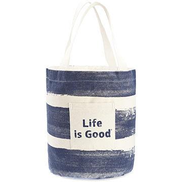 Life is Good Women's Darkest Blue Painted Stripe Beach Tote