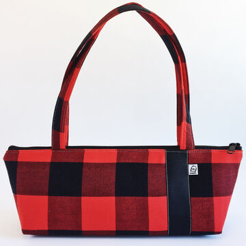 Little Man Womens Buffalo Check Tomboy Zippered Fabric Handbag