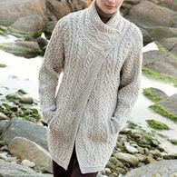 Aran Crafts Women's Three Button Coat Irish Sweater