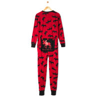 Hatley Men's Moose on Red Trailing Behind Union Suit