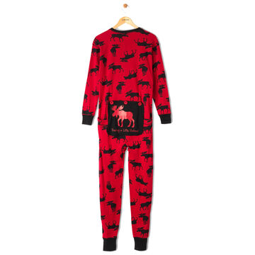 Hatley Mens Moose on Red Trailing Behind Union Suit