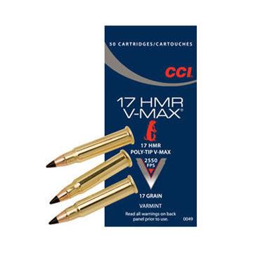 CCI 17 HMR V-Max 17 Grain Poly-Tip Rimfire Ammo (50)