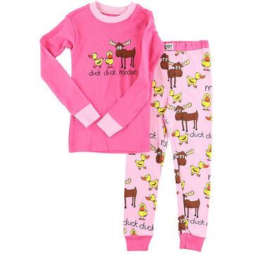 Lazy One Girls Duck Duck Moose Pink PJ Set