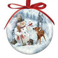 Cape Shore Spliced Ball Snowman And Friends Ornament