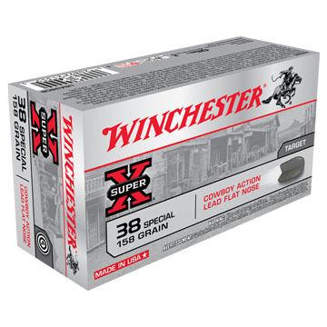 Winchester Super-X 38 Special 158 Grain Cowboy Action Lead Flat Nose Handgun Ammo (50)