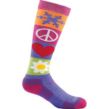 Darn Tough Vermont Girls Peace Love Snow Jr. Over The Calf Cushion Sock
