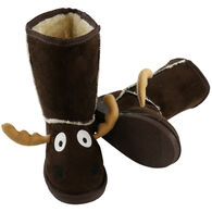 Lazy One Boys' & Girls' Brown Moose Toasty Toez Slipper