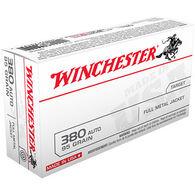 Winchester USA 380 Auto 95 Grain FMJ Handgun Ammo (100)